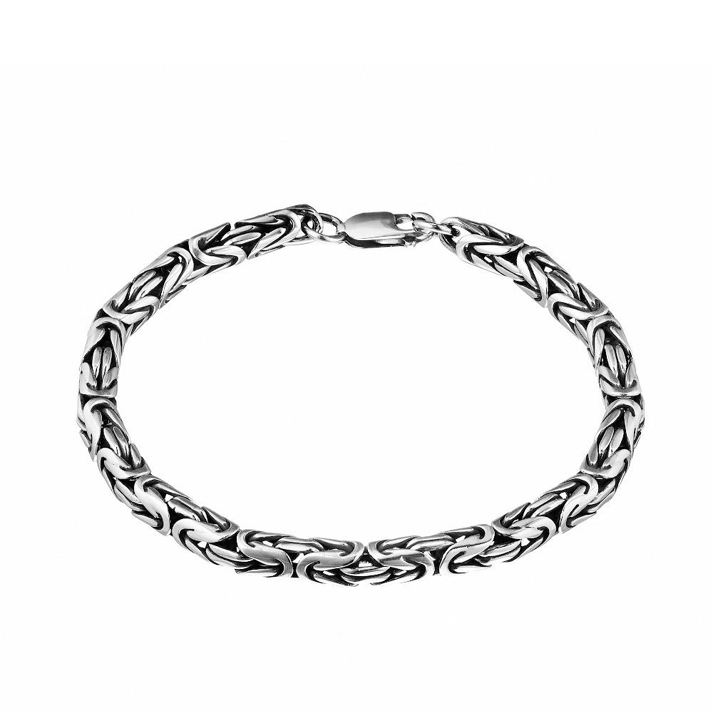 Серебряный браслет с чернением плетение «Византина круглая», ширина 0,5 мм. Размер 21.0 • Fidelis
