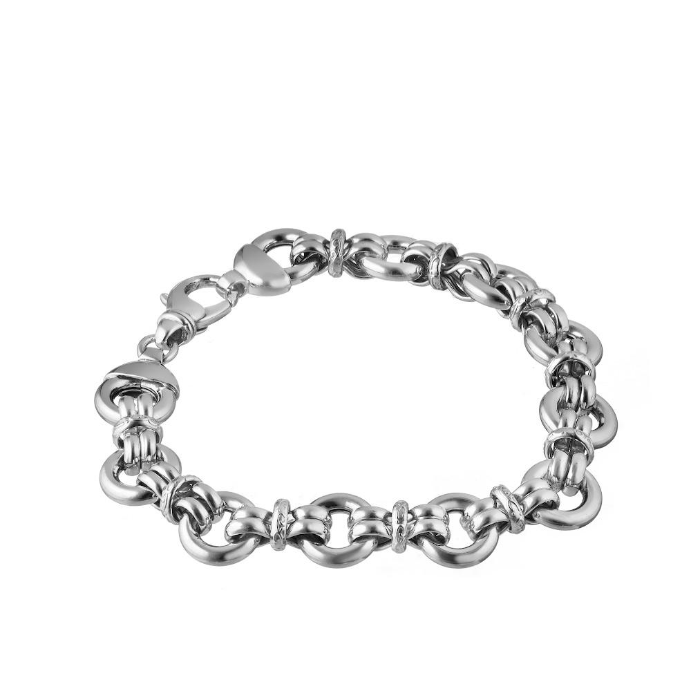 Фантазийный браслет из родированного серебра, шириной 1см. Размер 20.0 • Fidelis