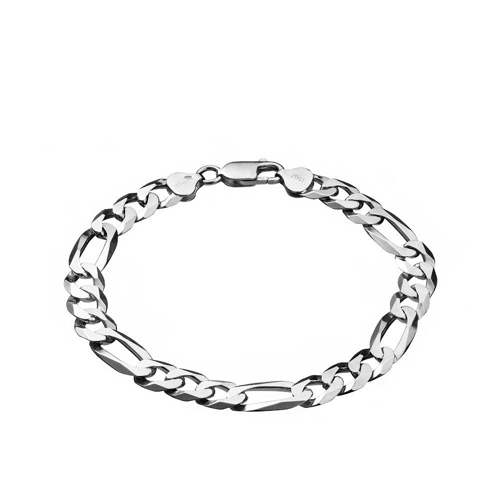 Мужской серебряный браслет шириной 1 см, плетение «Фигаро плоское» . Размер 21.0 • Fidelis