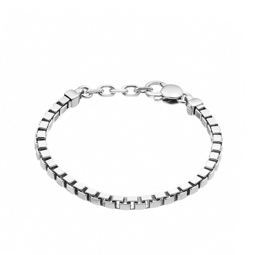 Серебряный браслет «Венециана квадратная» шириной 5 мм, универсальный размер 18-21 • Fidelis