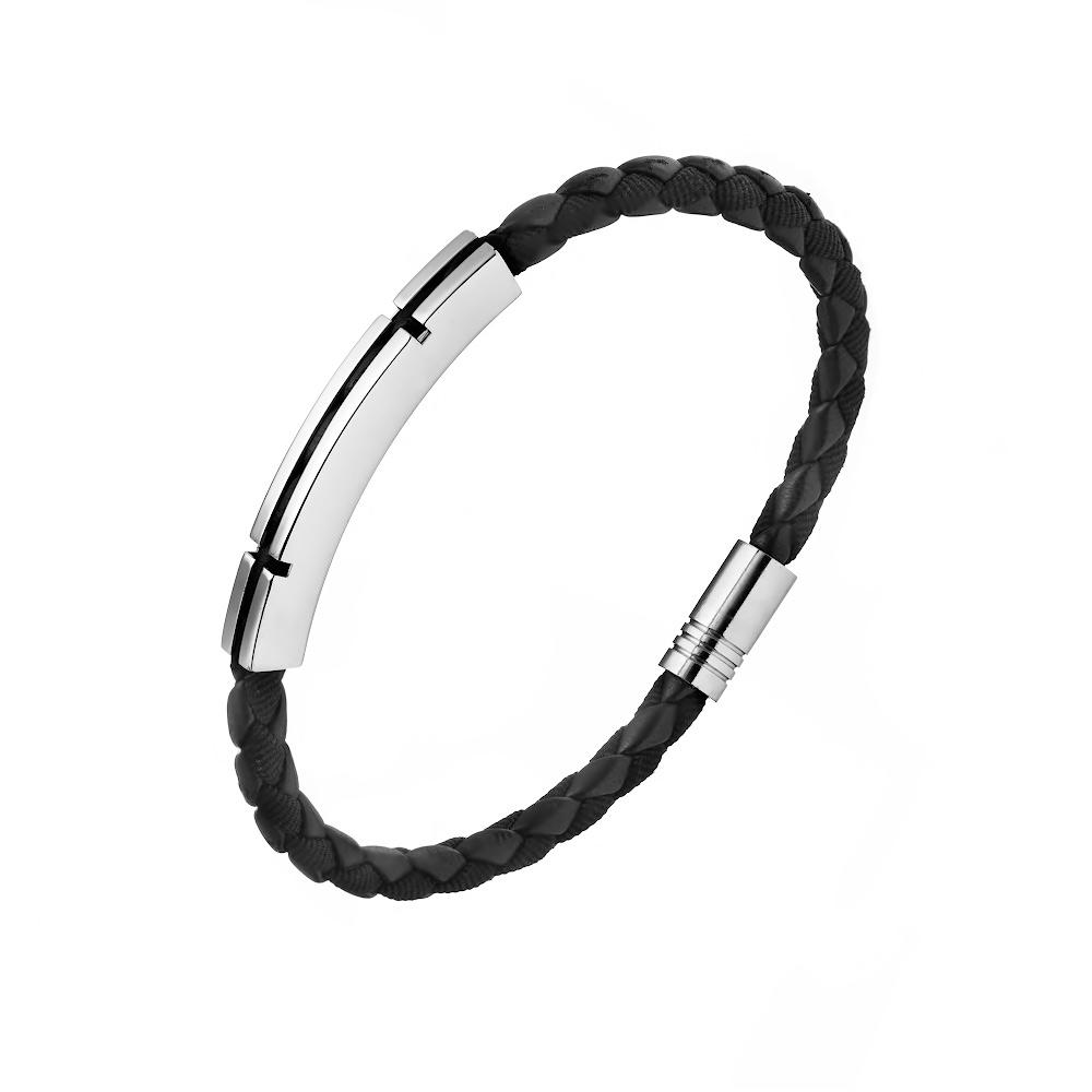 Мужской кожаный браслет-косичка с серебряной пластиной. Размер 21.0 • Fidelis