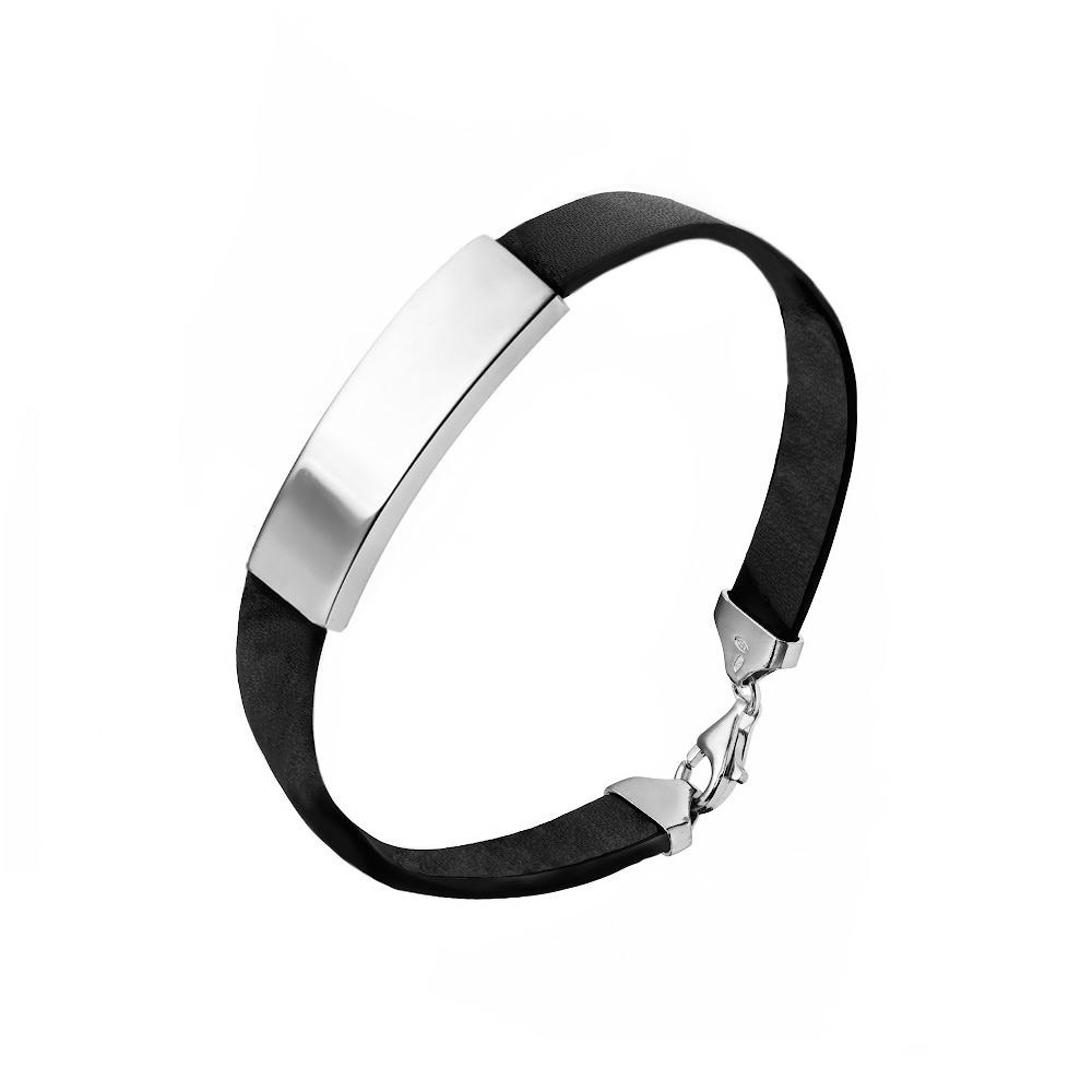 Мужской серебряный браслет с кожей. Размер 21.5 • Fidelis