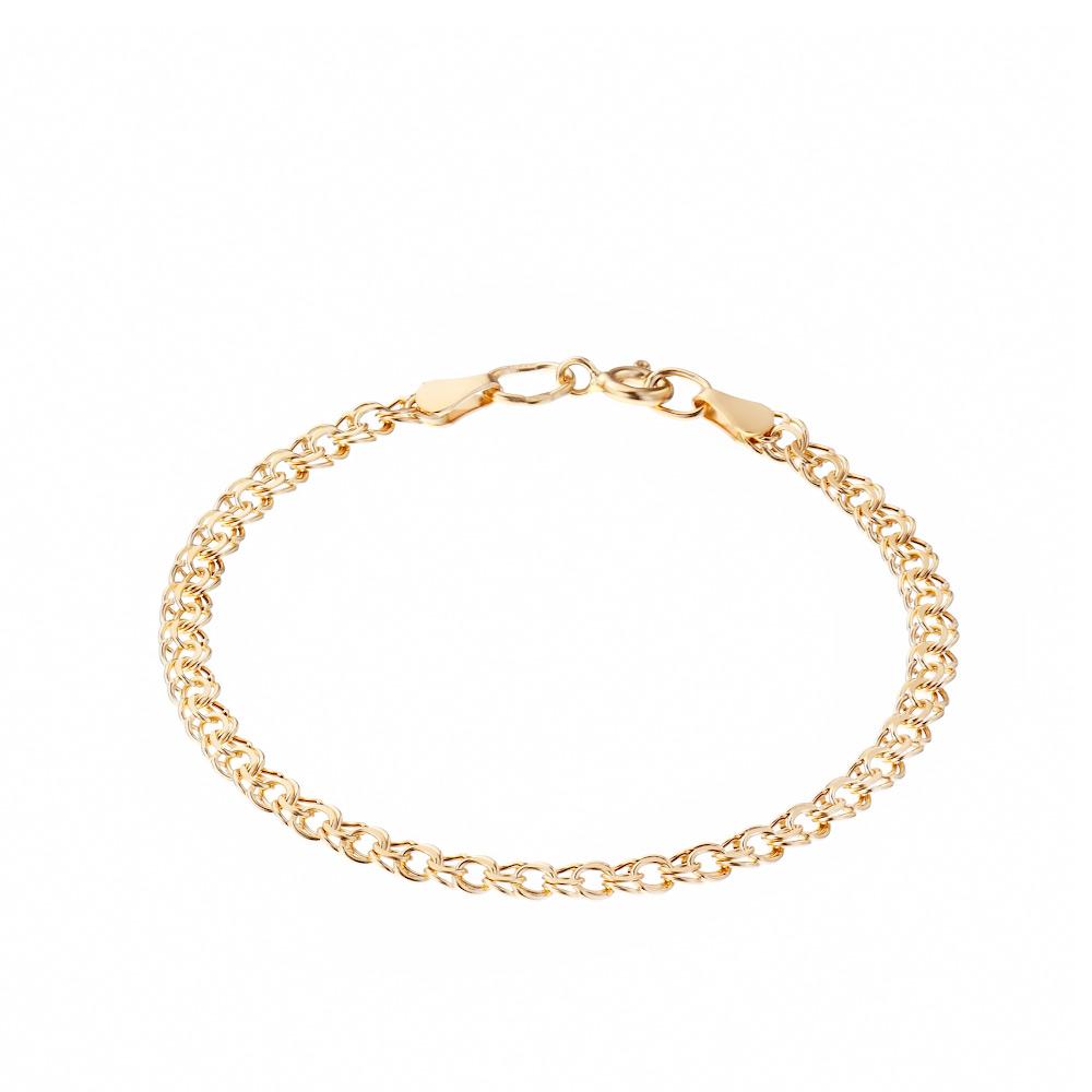 Золотой браслет с замком карабин, тип плетения- ручной бисмарк. Размер 18.0 • Fidelis