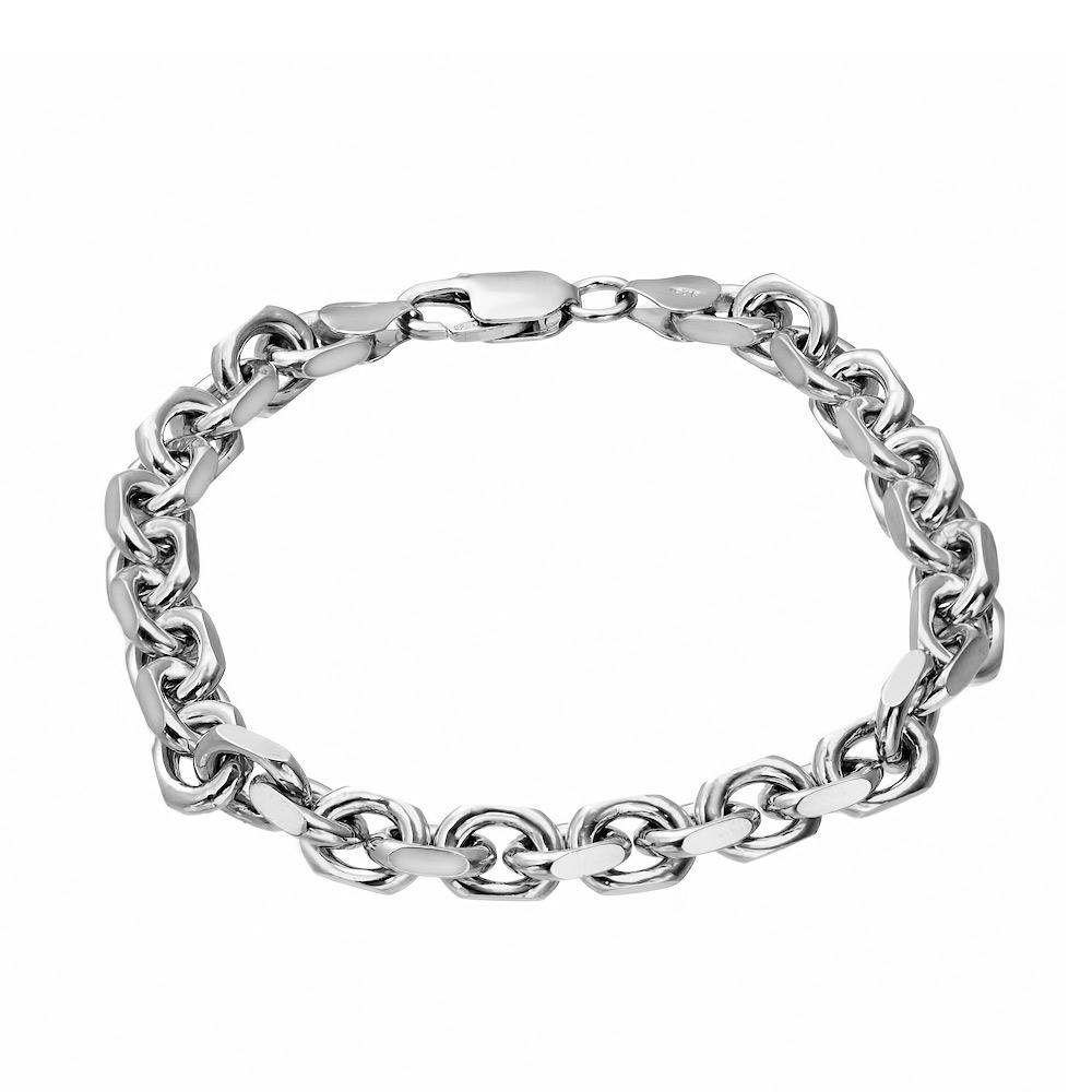 Толстый серебряный браслет, плетение «Квадратный якорь», с шириной звена 0,8 см. Размер 21.0 • Fidelis