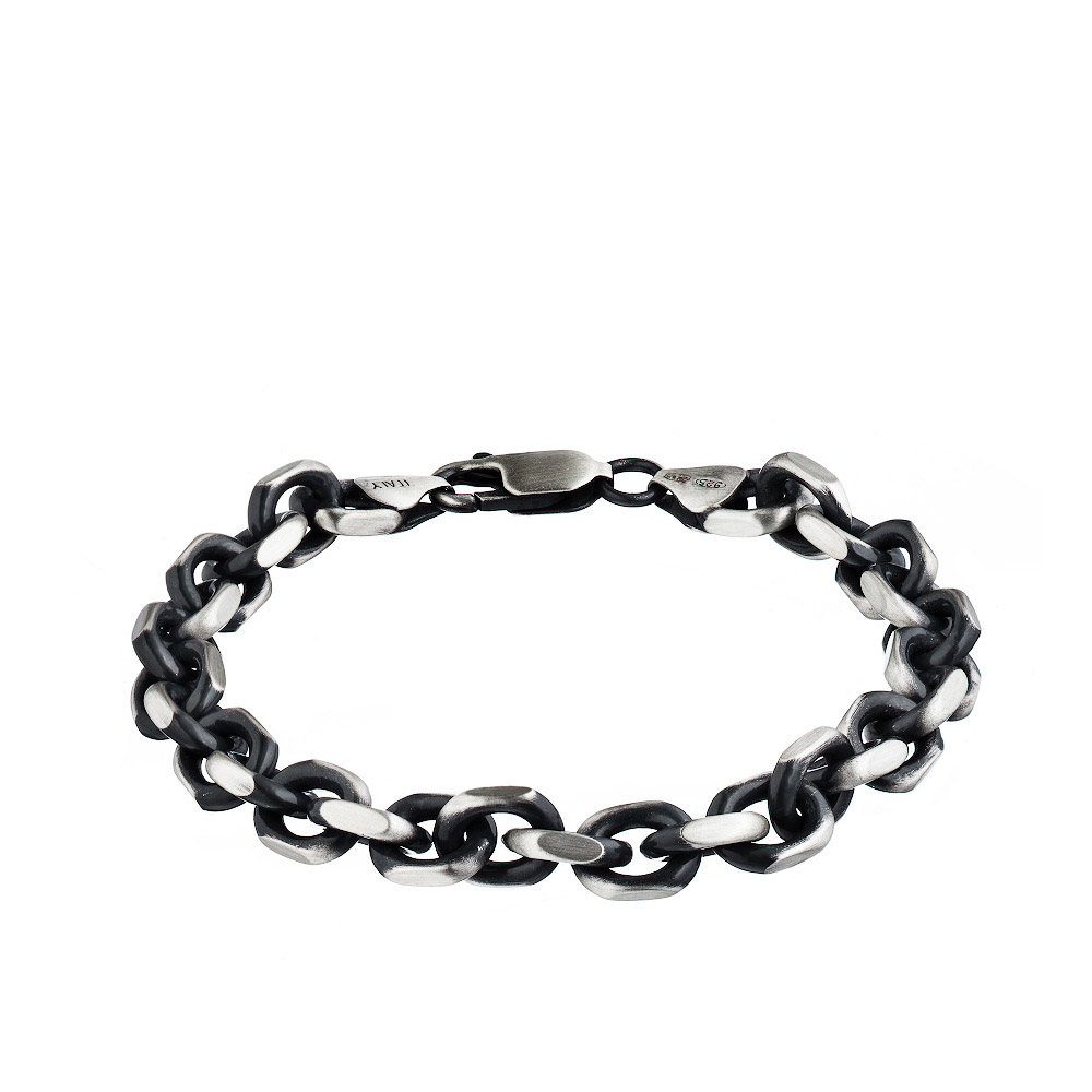 Серебряный браслет с чернением и палладиевым покрытием, тип плетения «Квадратный якорь», ширина 8мм. Размер 22.0 • Fidelis
