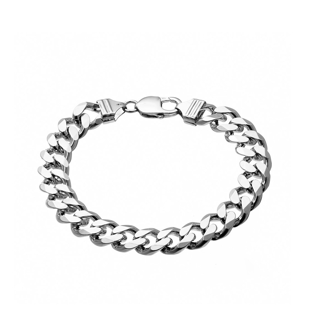Мужской браслет панцирного плетения, выполнен из родированного серебра шириной 1см.. Размер 22.0 • Fidelis