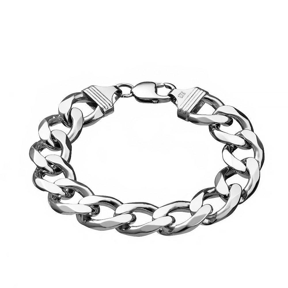 """Массивный серебряный мужской браслет плетения """"Панцирь"""", шириной 1,5 см. Размер 24.0 • Fidelis"""