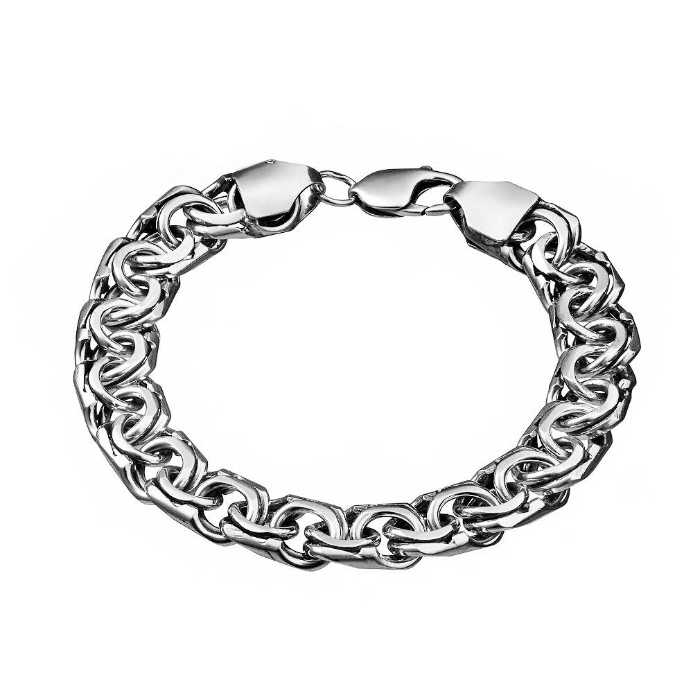 Мужской серебряный браслет шириной 1 см, плетение бисмарк ручной вязки. Размер 24.0 • Fidelis