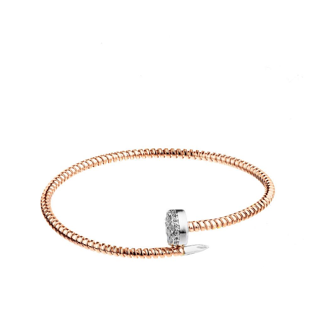 Серебряный браслет с позолотой в виде гвоздя с белой шляпкой • Jessica jewels