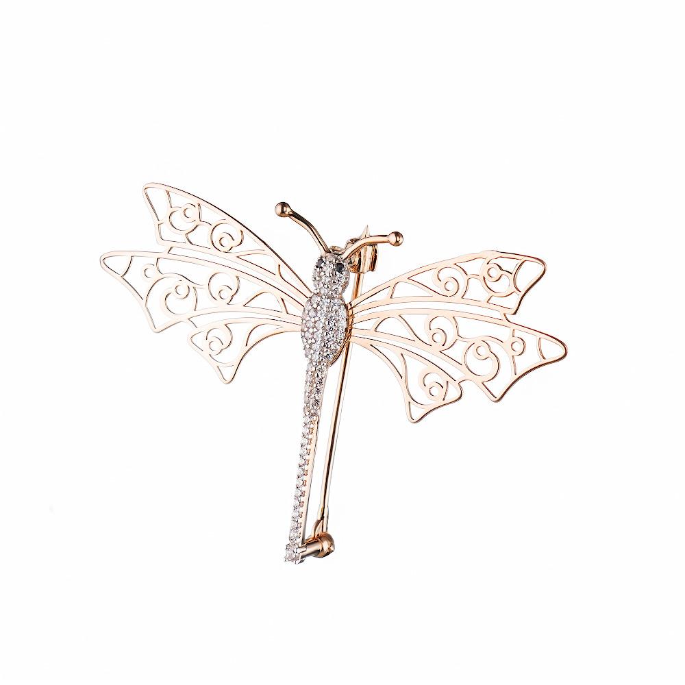 """Золотая брошь """"Бабочка"""" с цирконами • Fidelis"""