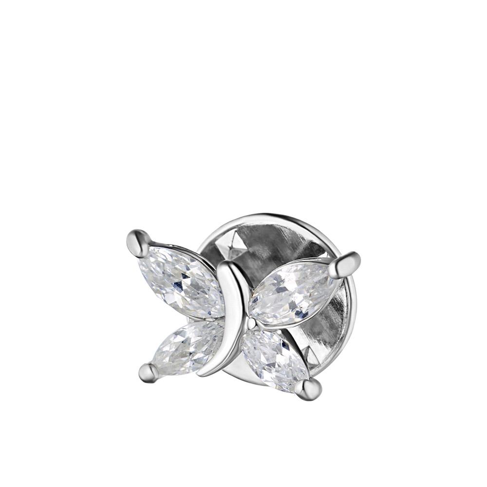 Брошь-бабочка из родированного серебра с фианитами • Fidelis