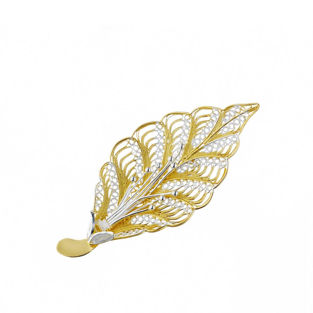 Брошка из серебра с желтой позолотой «Осенний лист», выполненная в технике филигрань • Fidelis
