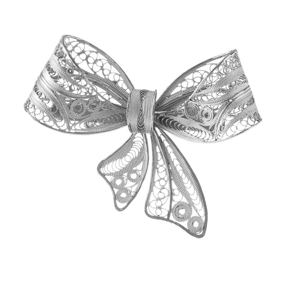 Серебряная брошь «Бант» выполненная в технике филигрань • Fidelis
