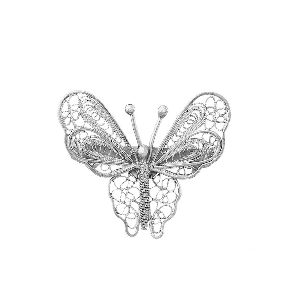 Серебреная брошь филигрань, в виде бабочки. • Fidelis