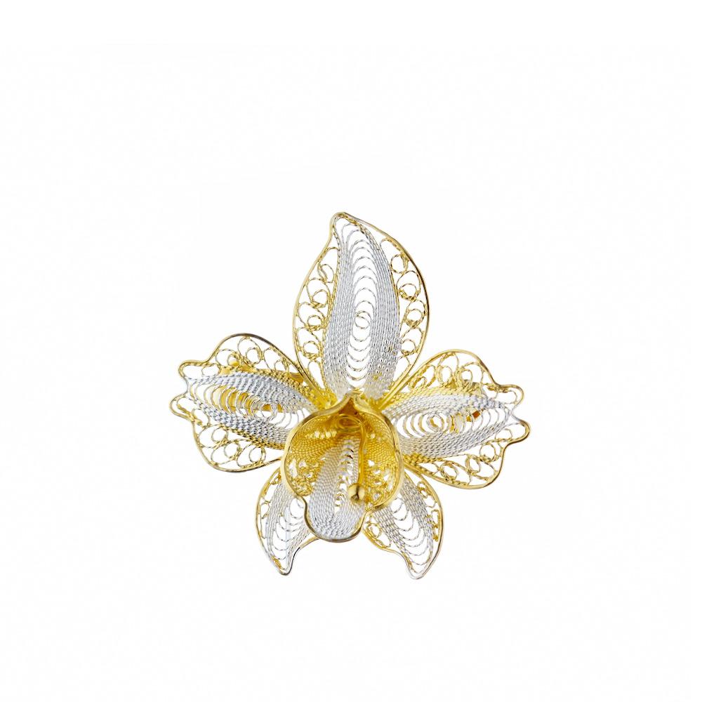 Брошка из родированного серебра с позолотой в форме цветка • Fidelis