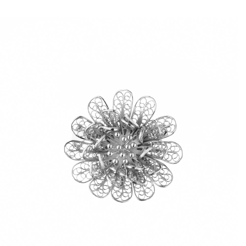 Брошь из серебра в технике скань, форме полевого цветка • Fidelis