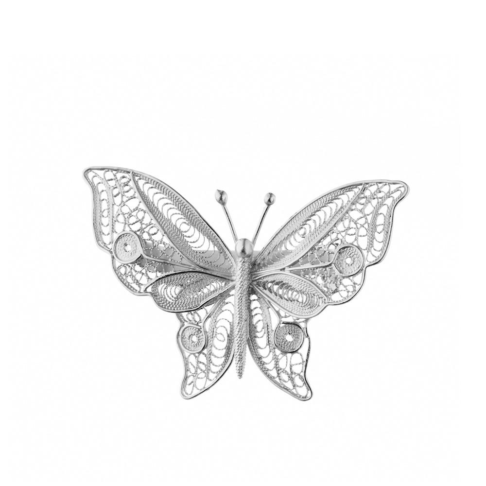 Женская брошь из серебра, в виде филигранной бабочки. • Fidelis