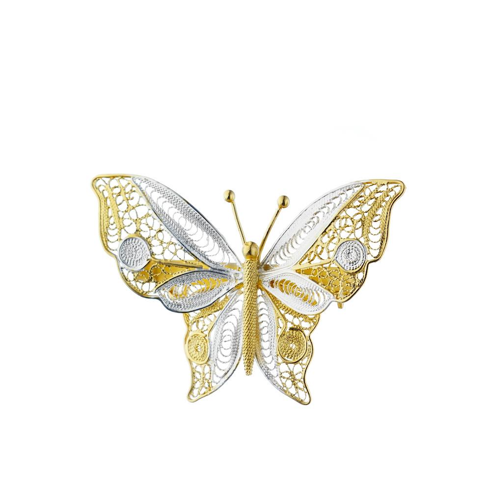 Брошка-бабочка из ажурного серебра «Павлиний глаз» • Fidelis