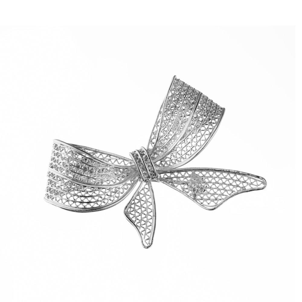 Изящная брошь-бант из серебра • Fidelis