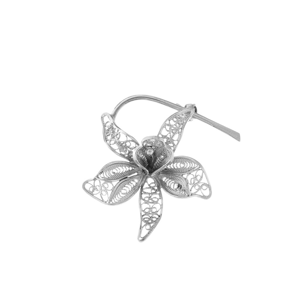 """Серебряная женская брошь, в виде цветка """"лилия"""". • Fidelis"""