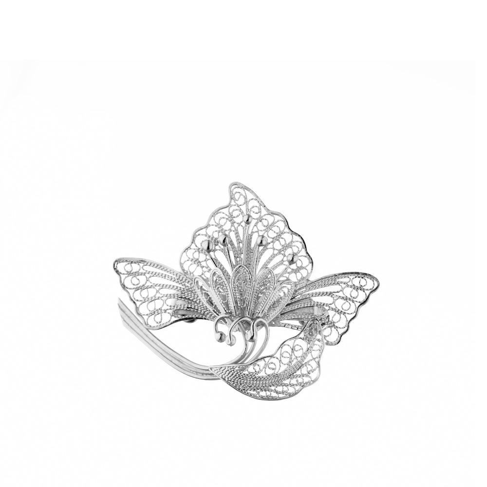 Филигранная серебряная брошь-цветок • Fidelis