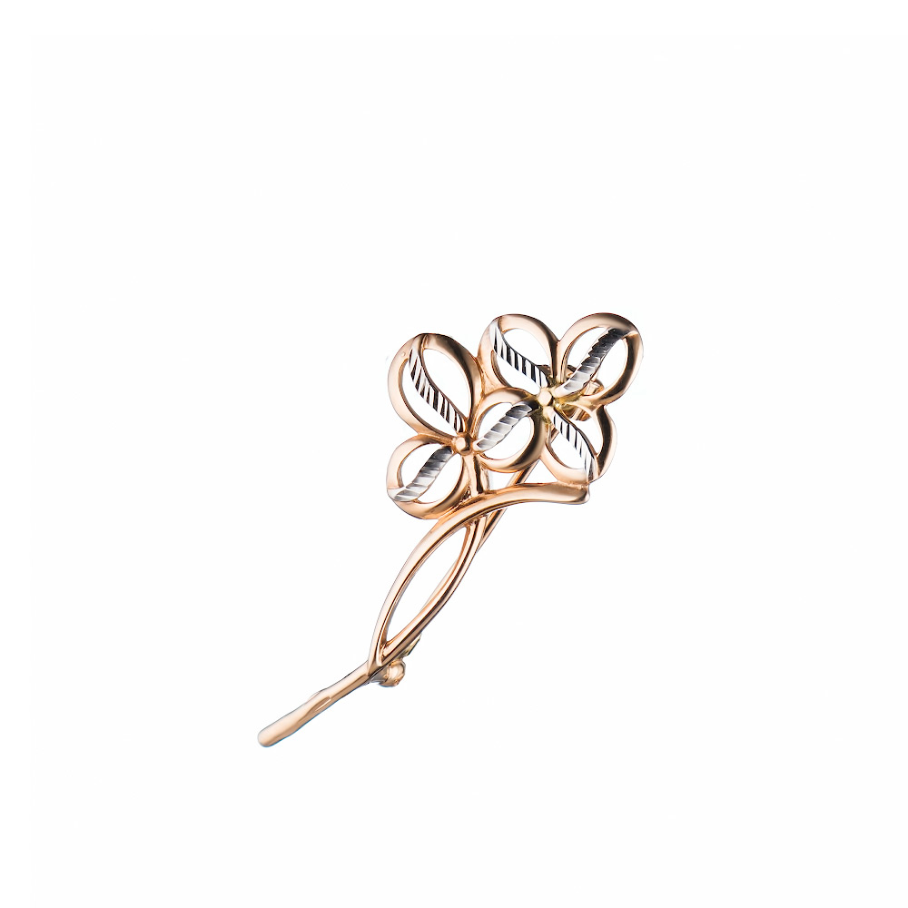 Брошь из розового золота 585 пробы с алмазной гранью • Fidelis