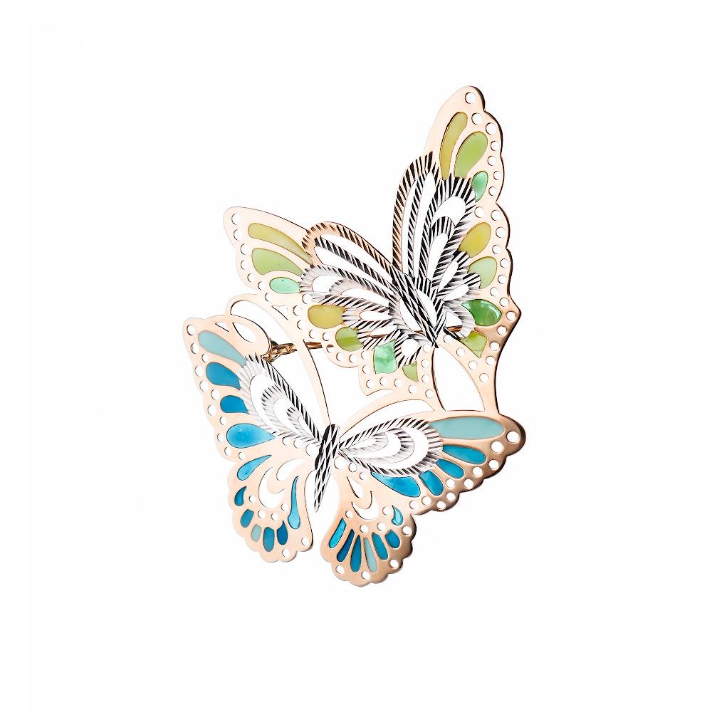 """Золотая брошь """" Бабочки """" с витражной эмалью • Fidelis"""