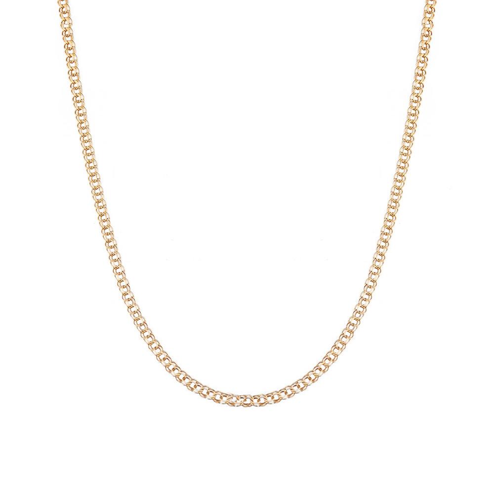 Классическая золотая цепочка из золота 585 пробы, плетения ручной бисмарк. Размер 45.0 • Fidelis