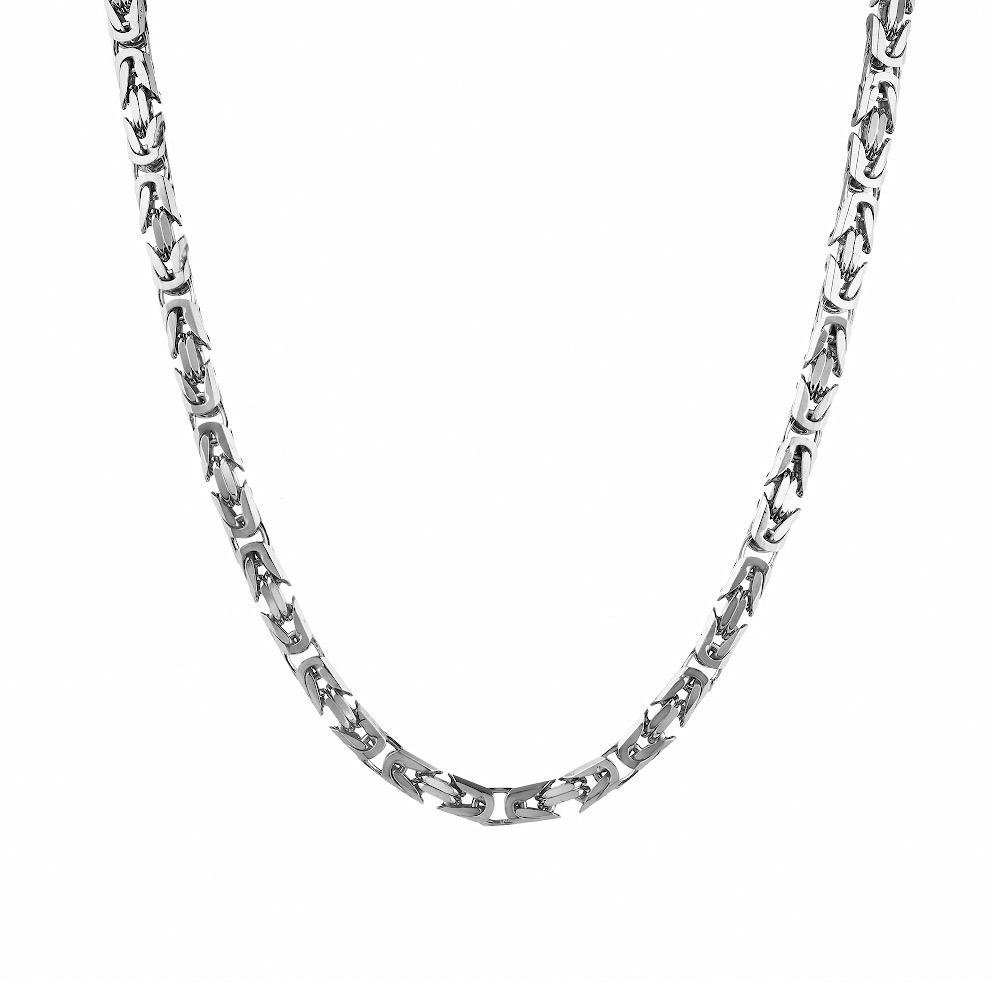 Серебряная цепь византийского квадратного плетения, ширина 5 мм. Размер 60.0 • Fidelis
