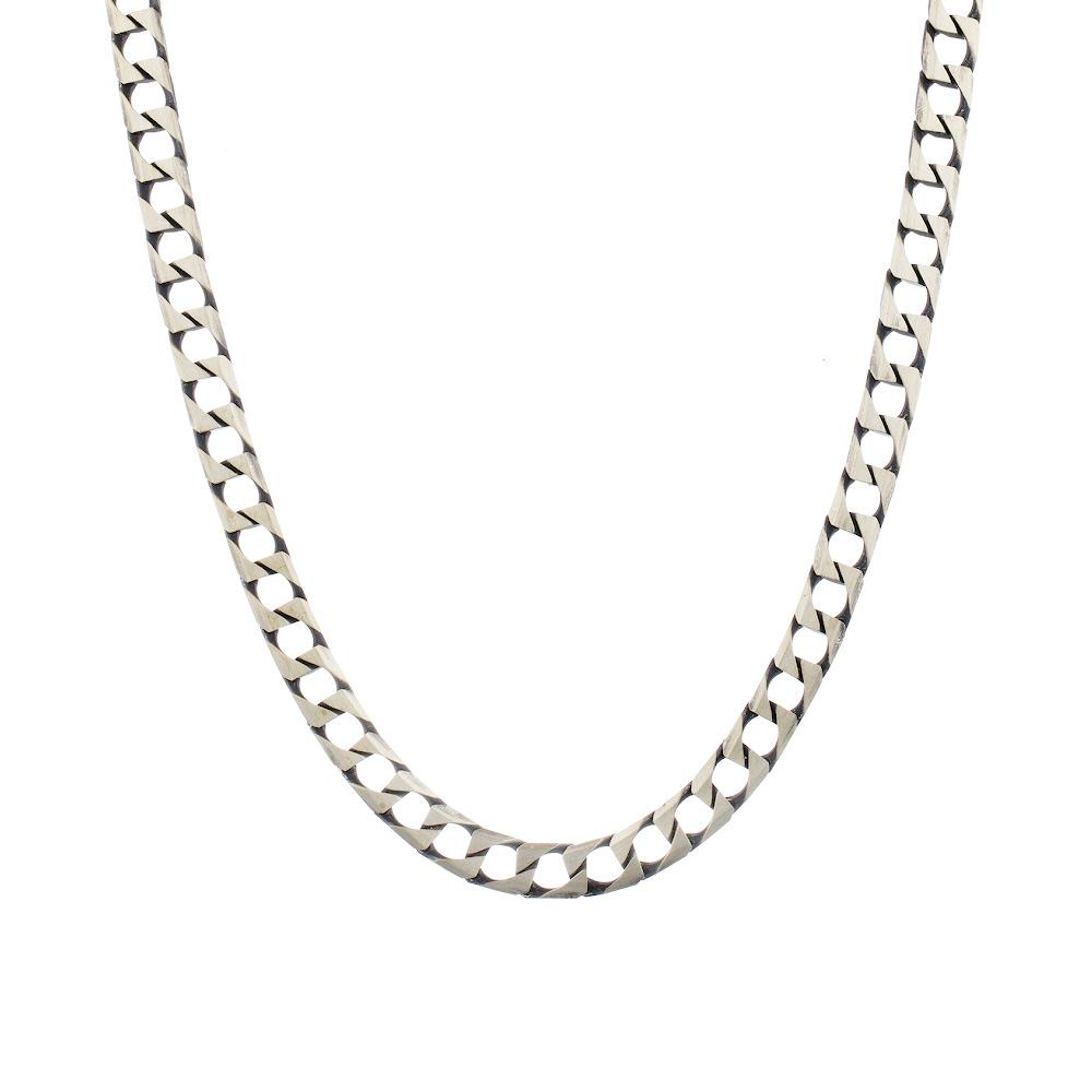 Мужская серебряная цепь «Квадратный панцирь» с палладиевым покрытием, шириной 7 мм. Размер 60.0 • Fidelis