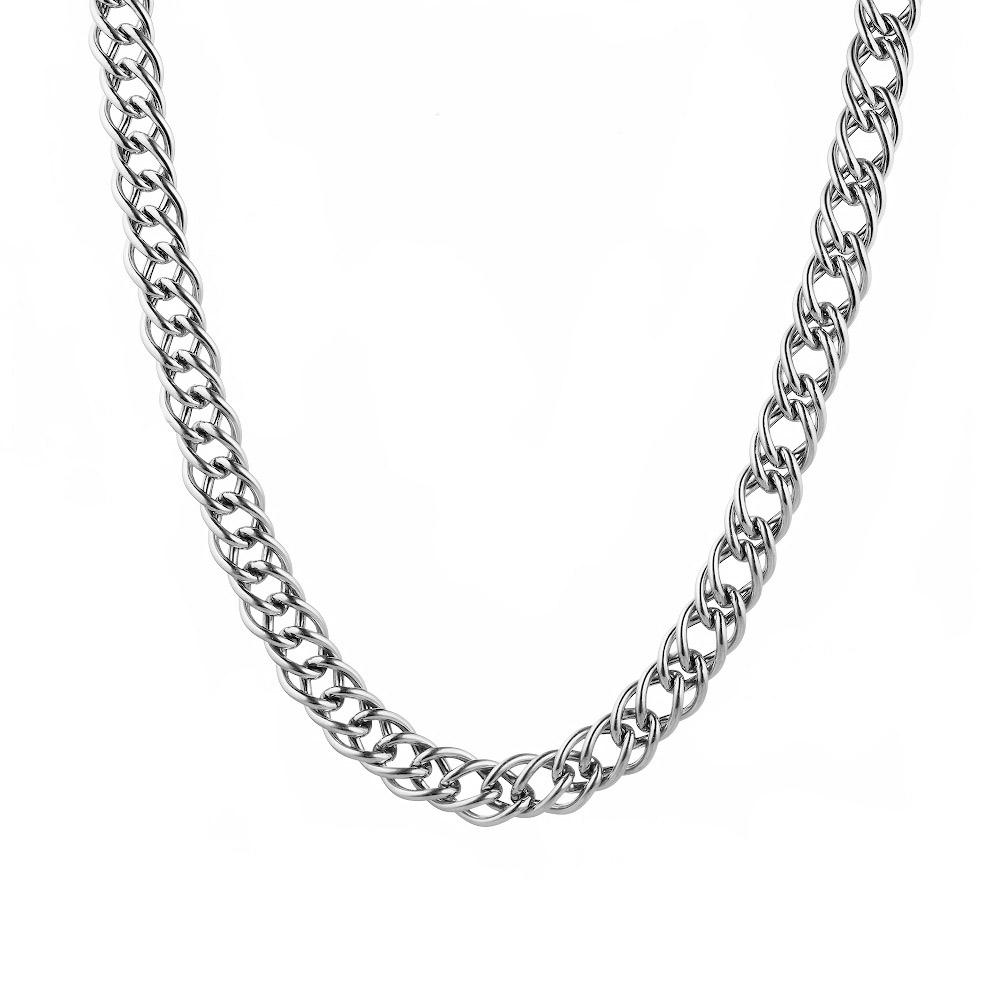 """Дутая мужская серебряная цепь, плетения """"Двойной ромб"""", ширина 7 мм. Размер 60.0 • Fidelis"""