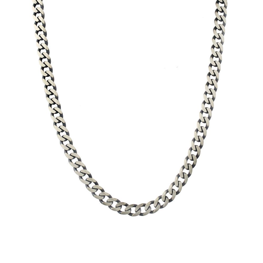 Черненая «Панцирная» цепь из серебра покрытая палладием, шириной 0,7 см. Размер 60.0 • Fidelis