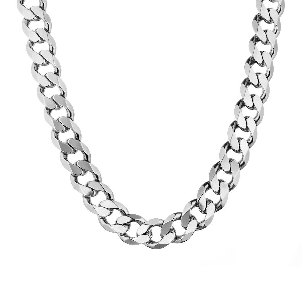 Очень толстая мужская цепь из серебра, классического панцирного плетения, шириной 1,4 см. Размер 60.0 • Fidelis