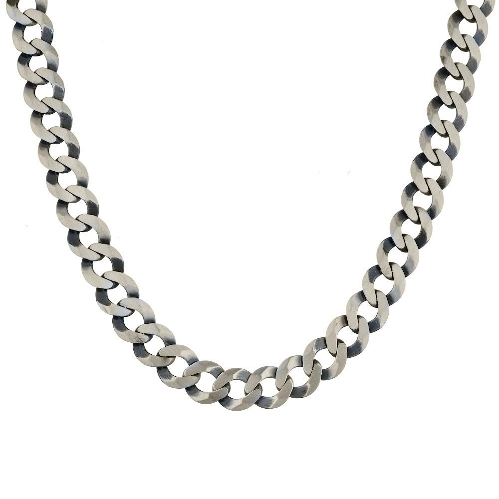 Мужская цепь плетения «Круглый панцирь плоский», шириной 1,1 см, из черненного серебра. Размер 55.0 • Fidelis