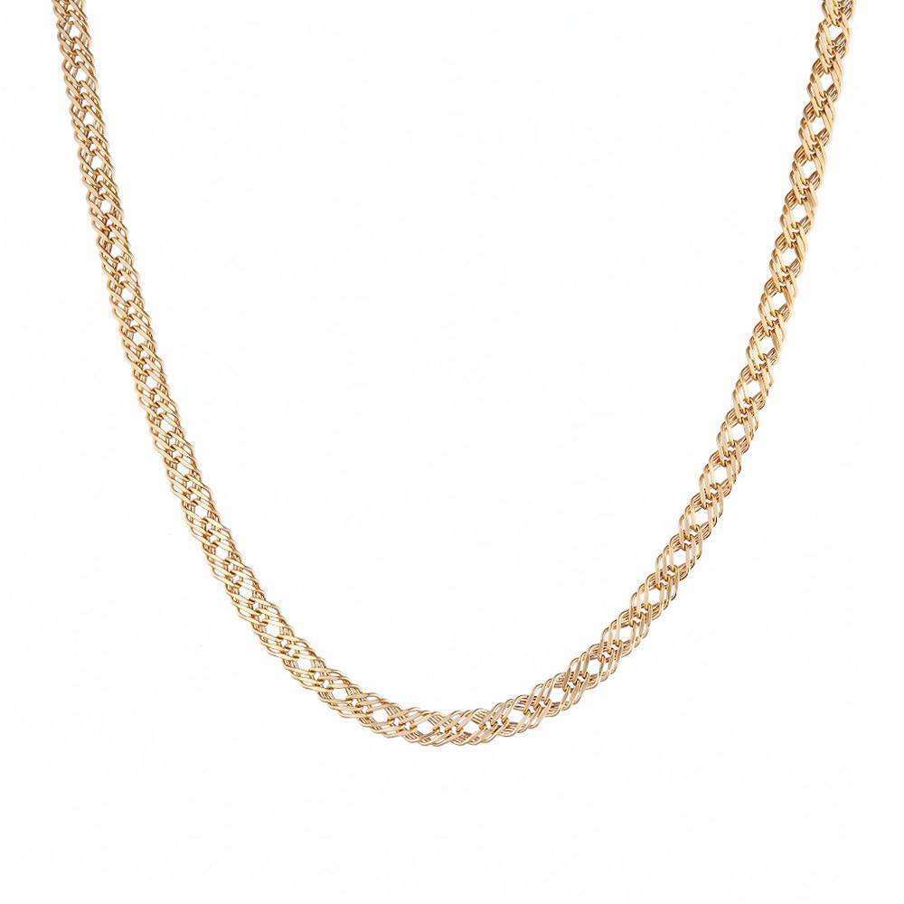 Аккуратная золотая цепочка, изготовлена в технике тройной ромб. Размер 45.0 • Fidelis