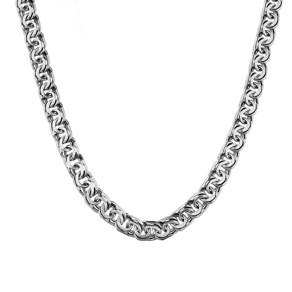 Мужская серебряная цепь с оксидированным, шириной 0,8 см, плетение бисмарк ручной вязки. Размер 65.0 • Fidelis