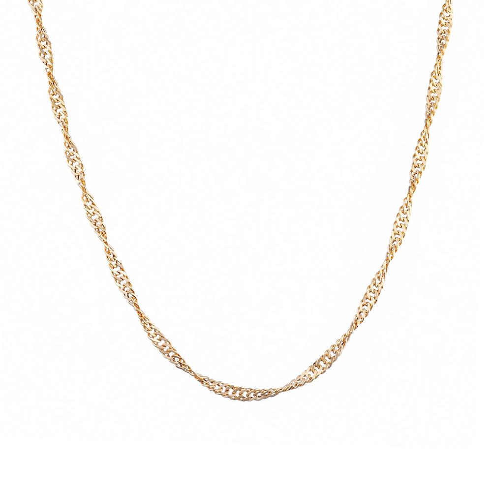 Женская цепочка из розового золота 585 пробы плетения сингапур. Размер 55.0 • Fidelis