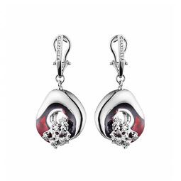 Сережки Graziella FormeMov-Red, изготовлены из родированого серебра с  элементами из красной эмали c5d4a149535