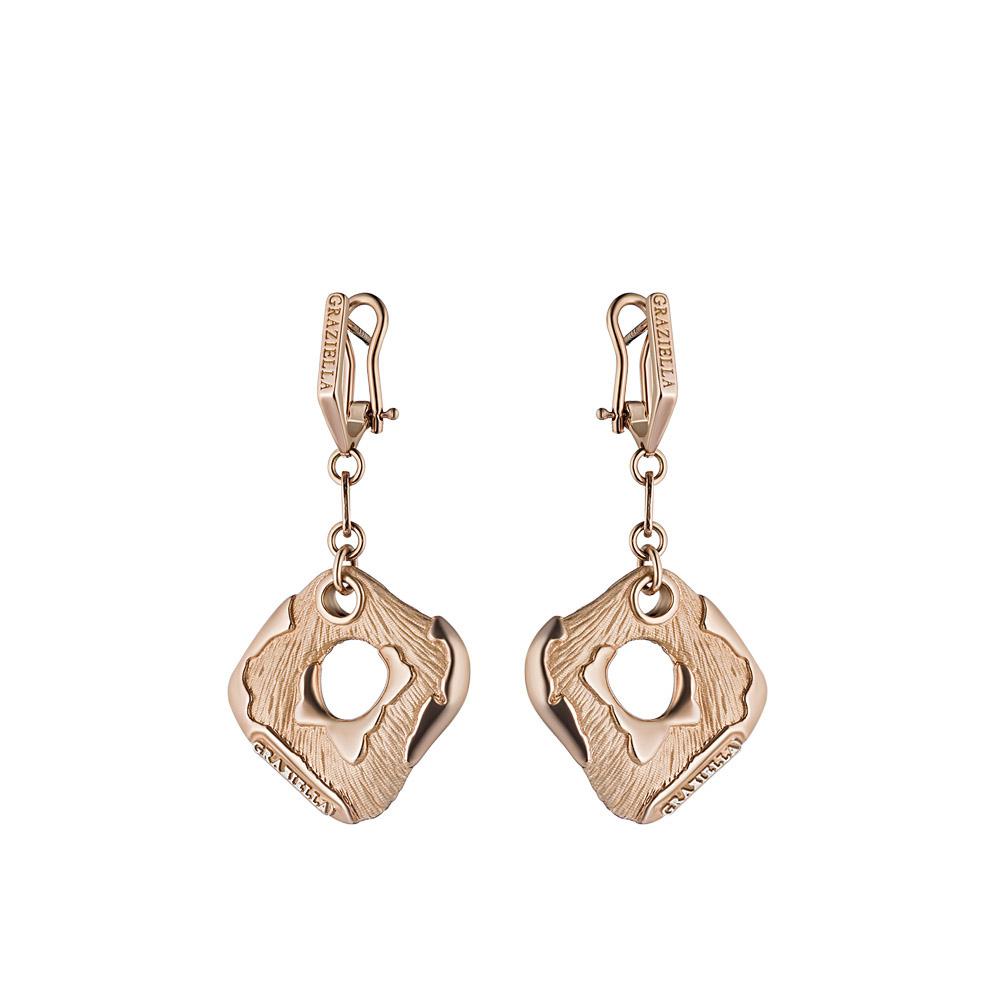 Подвесные серьги Graziella из розового золота, модель Geometrie11 • Graziella
