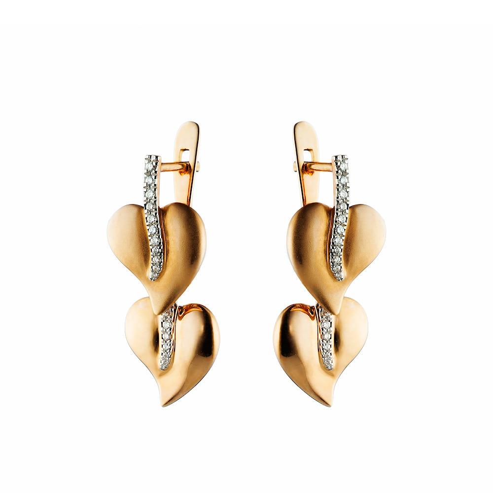 Золотые серьги два листика из розового золота с бриллиантами • Fidelis