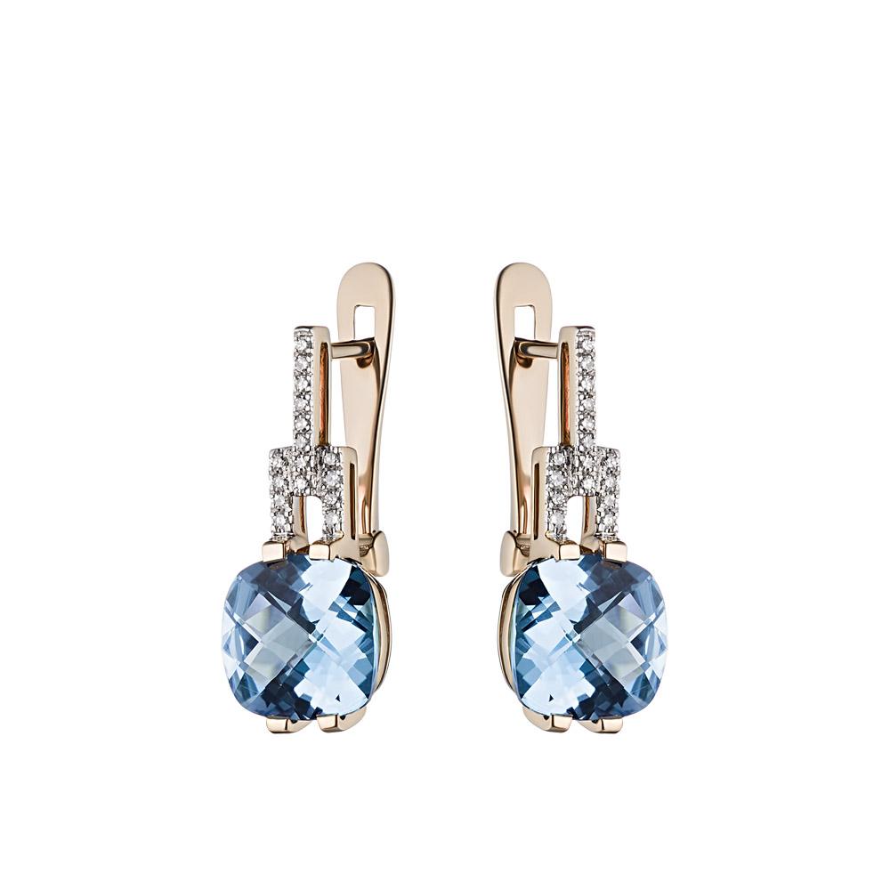 Гармоничные серьги, с квадратным топазом и бриллиантами, в розовом золоте 585 пробы • Fidelis