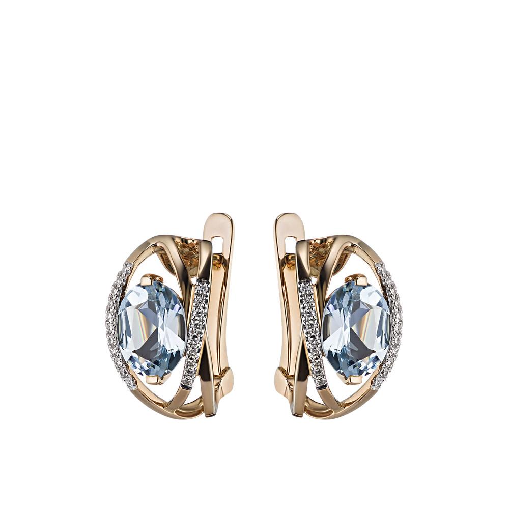 Аккуратные золотые серьги с крупными топазами и дорожками из бриллиантов 0,11ct • Fidelis