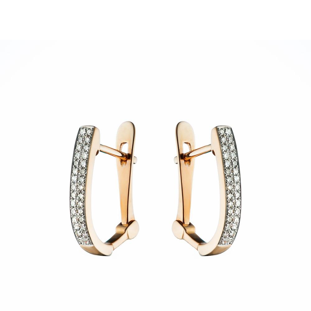 Серьги золотые с двумя бриллиантовыми дорожками • Fidelis