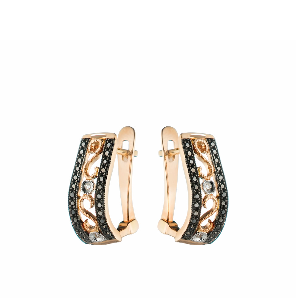 Авантюрные серьги из белого золота с черными и белыми бриллиантами • Fidelis