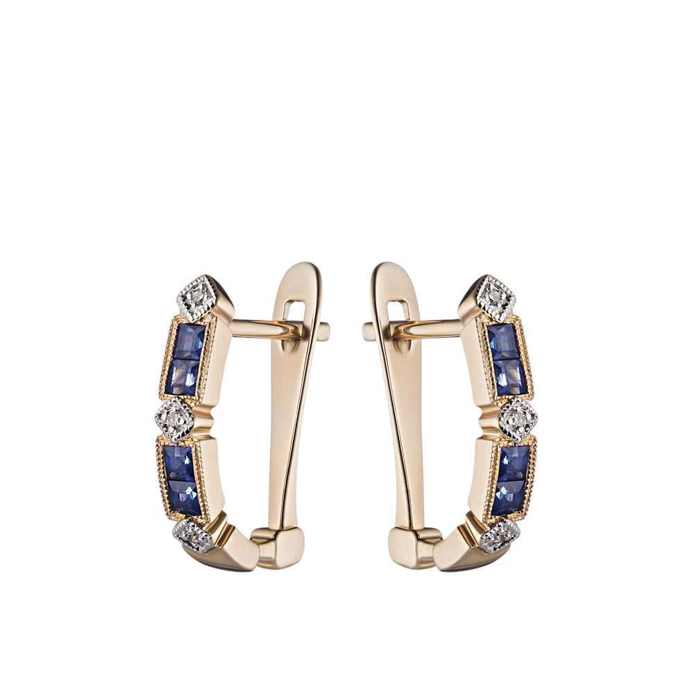 Золотые серьги-дорожки с бриллиантами и сапфирами • Fidelis