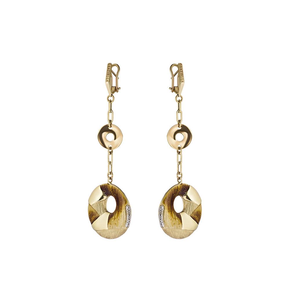 Серьги из желтого золота с эмалью, Graziella, модель Сielo11 • Graziella