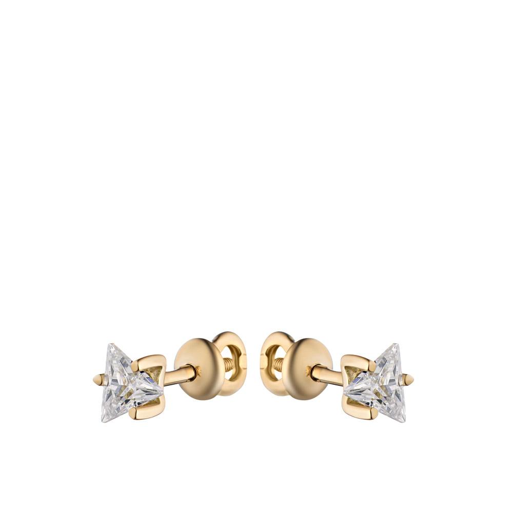Золотые серьги пуссеты на винтовом замке со вставкой из фианита треугольной формы • Fidelis