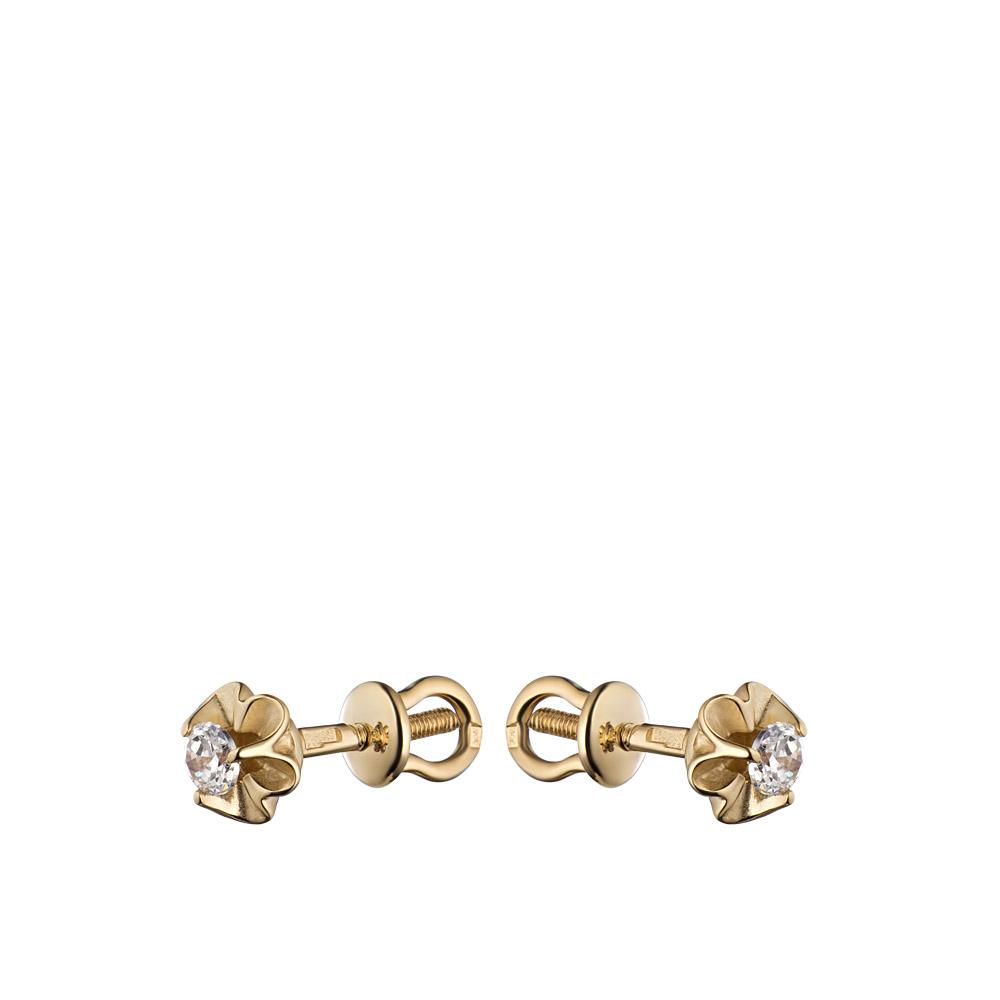 Серьги из розового золота пуссеты на винтовом замке в форме цветка с одним фианитом в центре • Fidelis