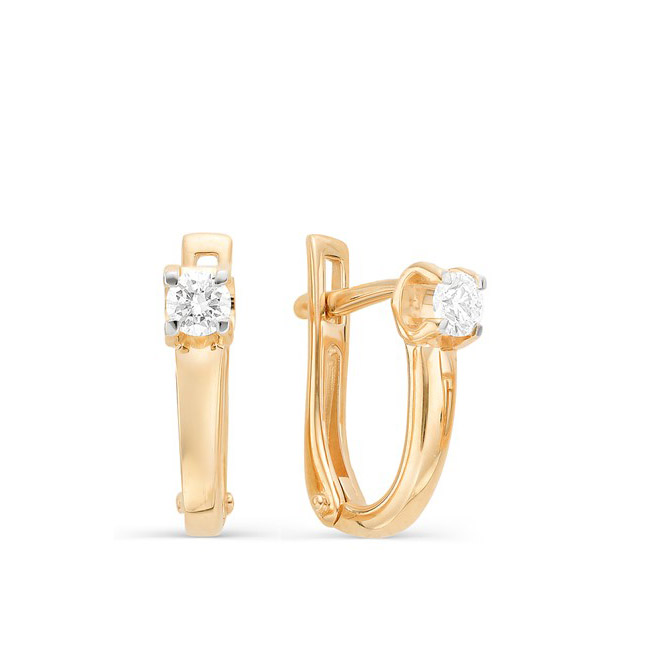 bb7830912a2d Классические золотые серьги с бриллиантами за 47 250р. в ювелирном ...