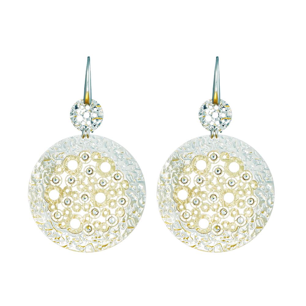 Воздушные серебряные серьги круглой формы с кристаллами Swarovski • Fidelis